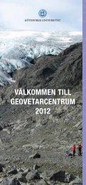 VÄLKOMMEN TILL GEOVETARCENTRUM 2012 - Institutionen för ...