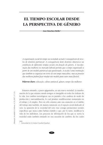 EL TIEMPO ESCOLAR DESDE LA PERSPECTIVA DE GÉNERO