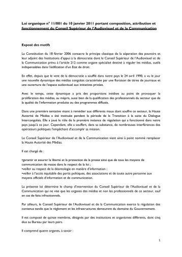 Loi organique n° 11/001 du 10 janvier 2011 portant composition ...