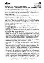 MERKBLATT für TARIF RE(Z) / RF(Z) und REW ... - Wiener Städtische