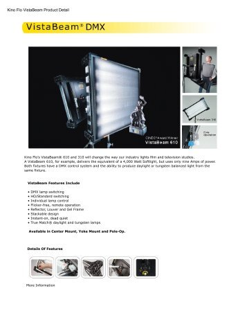 Kino Flo VistaBeam Product Detail - Video Cine Import
