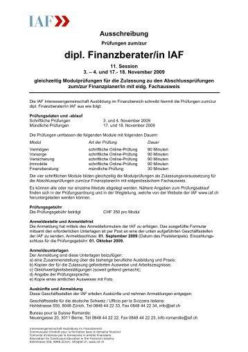 Formelsammlung iaf interessengemeinschaft ausbildung im for Iaf finanzberater