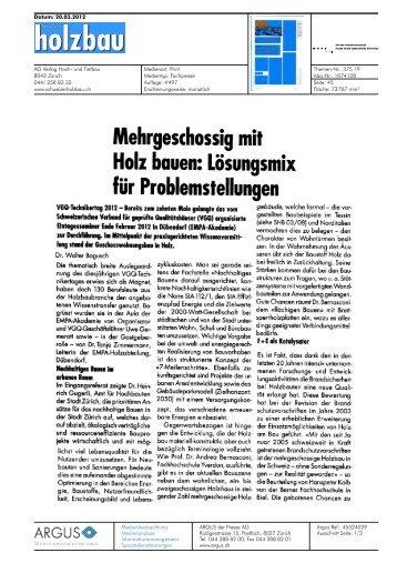 für Problemstellungen - Hochschule für Architektur, Holz und Bau ...