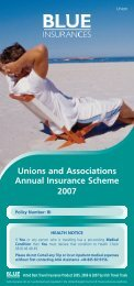 Unions and Associations Annual Insurance ... - Blue Insurances