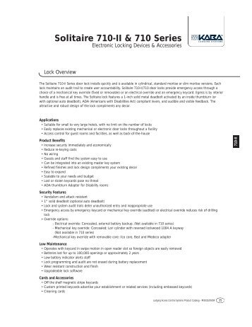 Solitaire 710-II & 710 Series - Kaba do Brasil LTDA