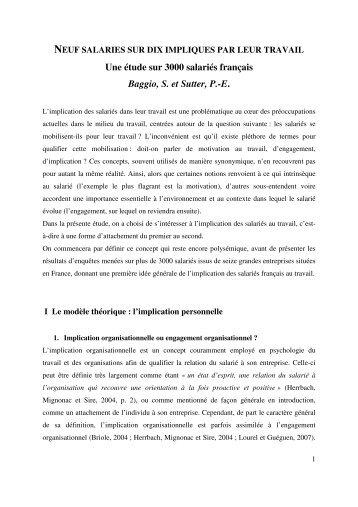 Une étude sur 3000 salariés français Baggio, S. et Sutter ... - Mars-Lab