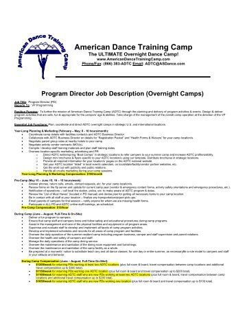 Assistant Program Director Job Description  American Dance