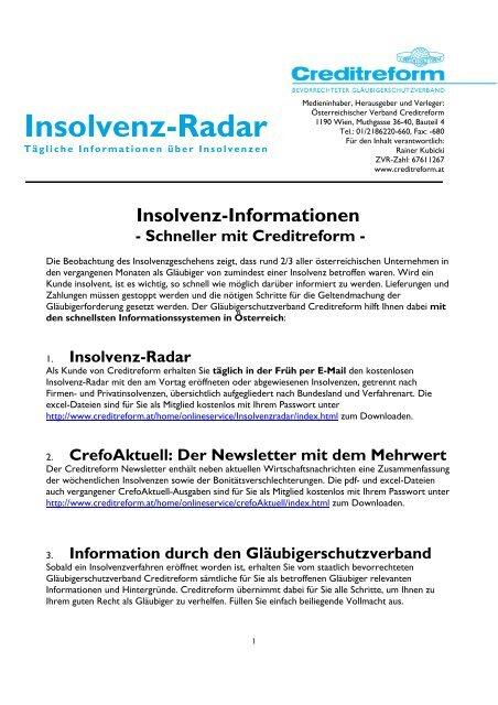 Insolvenz Radar