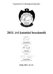 2011. évi kutatási beszámoló - Szegedi Karszt