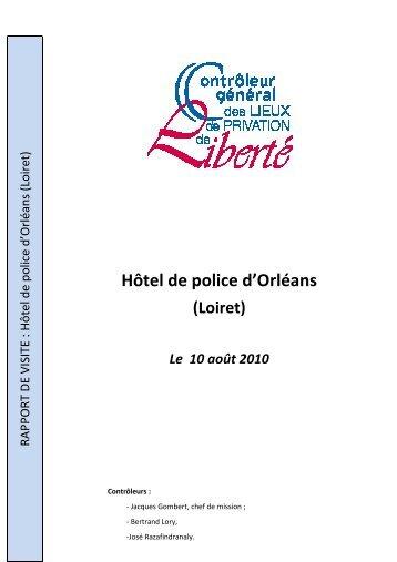 Rapport de visite de l'hôtel de police d'orléans - Site du Contrôleur ...