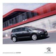 ACCESSORIES PRICE LIST 5008 - Peugeot