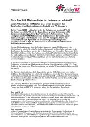 Girls´ Day 2008: Mädchen hinter den Kulissen von schülerVZ - studiVZ