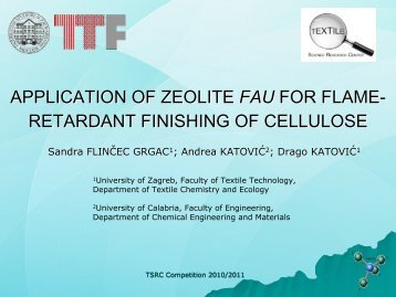 application of zeolite fau for flame-retardant finishing ... - Project T-Pot