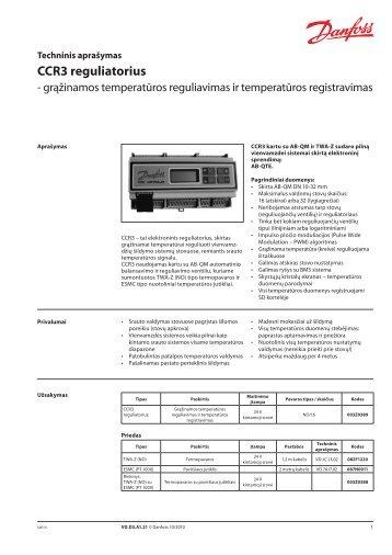 CCR3 reguliatorius - Danfoss