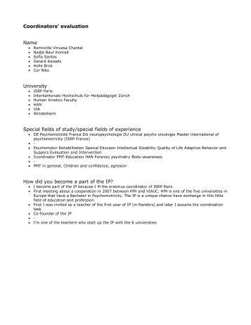 Coordinators' evaluation Name University Special fields of study ...