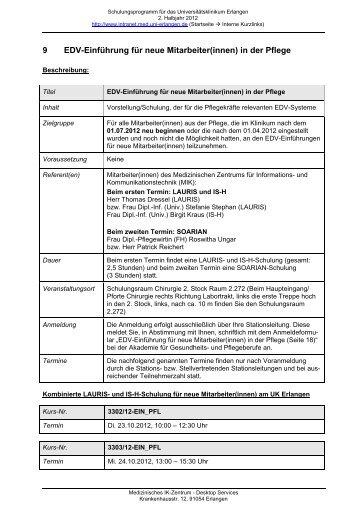 9 EDV-Einführung für neue Mitarbeiter(innen) in der Pflege