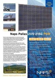 Spezifikationen: Naps Pallas 205-215G PBW - Reimann Solar GmbH