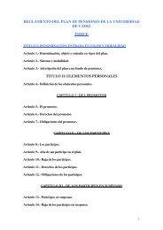 reglamento del plan de pensiones de la universidad de cádiz índice ...