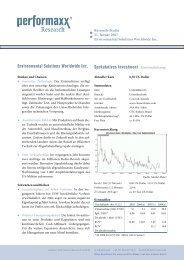Environmental Solutions Worldwide Inc. - Performaxx Research