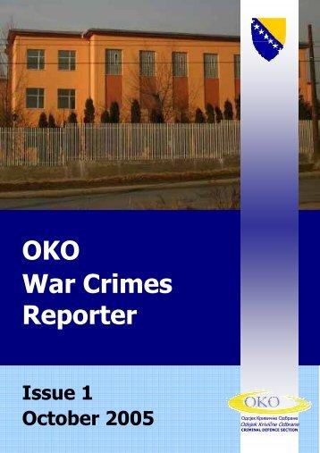OKO War Crimes Reporter Issue 1 - Odsjek Krivične Odbrane