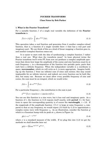 some notes on the Fourier transform - IGPP