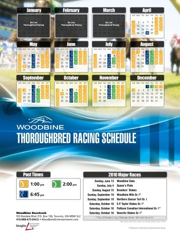 Thoroughbred racing schedule - Woodbine Entertainment Group