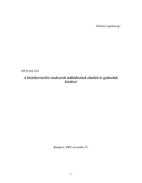 Pitti Zoltán: A közteherviselési rendszerek működésének elméleti és ...