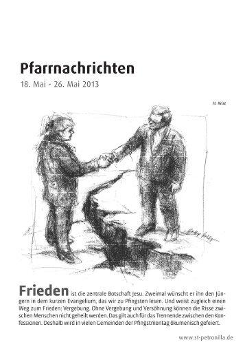 Pfarrnachrichten für die Zeit vom 18. - 26. Mai 2013 - St. Petronilla