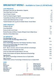 BREAKFAST MENU - Available to 11am(11.30 W/Ends)