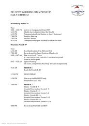 2012 ISST SWIMMING CHAMPIONSHIP DAILY SCHEDULE