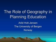 The Role of Geography in Planning Education - HERODOT Network ...
