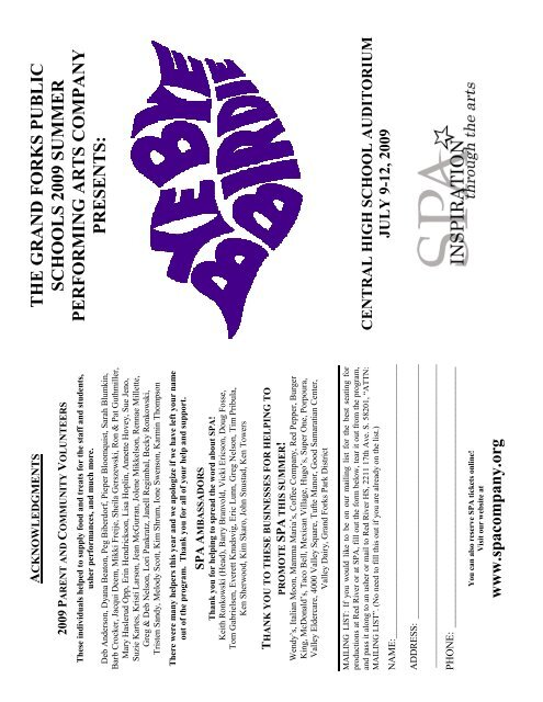 Bye Bye Birdie Playbill - Summer Performing Arts Company