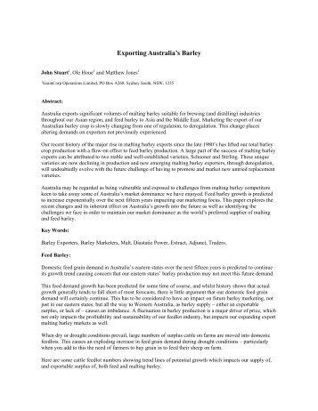 Exporting Australia's Barley