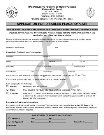 Application for Disabled Placard/Plate - Falmouth Police