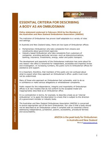 Essential criteria for describing a body as an ombudsman