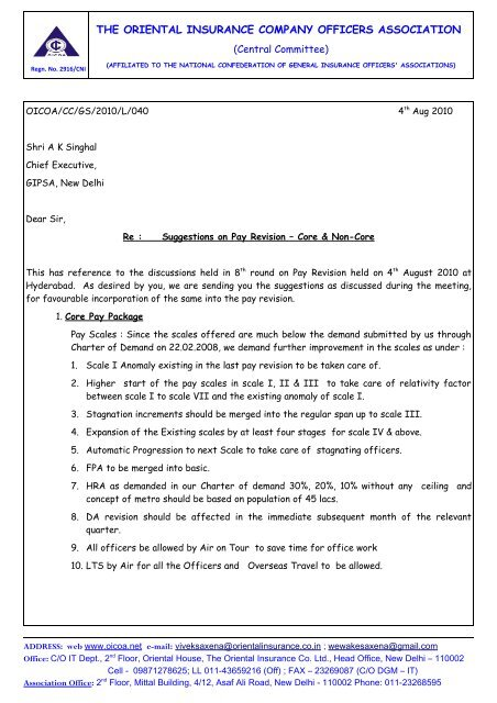 Letter To Gipsa 040810 Suggestions On Pay Revision Oicoa