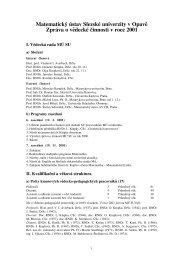 výroční zpráva o vědecké činnosti - Slezská univerzita v Opavě