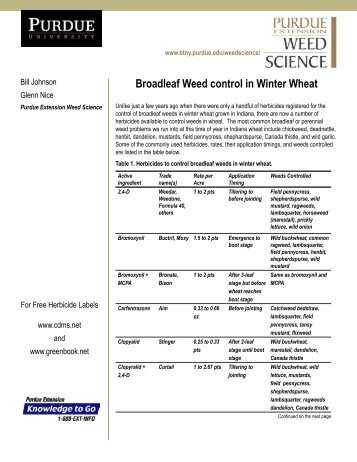 Broadleaf Control in Winter Wheat - Purdue University Botany and ...