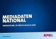 RPR1. Mediadaten 2013 National - RadioCom SW GmbH