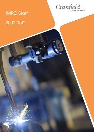 IMRC Staff 2002-2012 - Cranfield University
