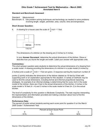 Ohio Grade 7 Achievement Test for Mathematics – March 2005 ...