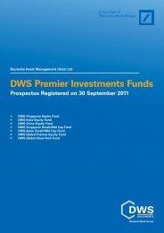 DWS Premier Investments Funds Prospectus Registered on 30 ...