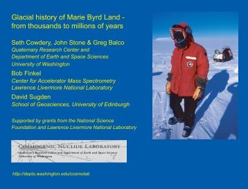Glacial history of Marie Byrd Land - from thousands to millions of years