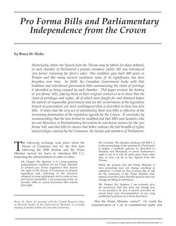 Pro Forma Bills and Parliamentary Independence from the Crown