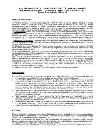 Elenco documenti ed informazioni sulla procedura di ...