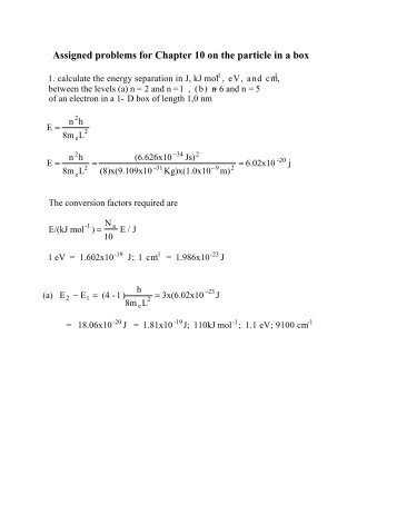 Assigned problems for Chapter 10 on the particle in a box - Cobalt