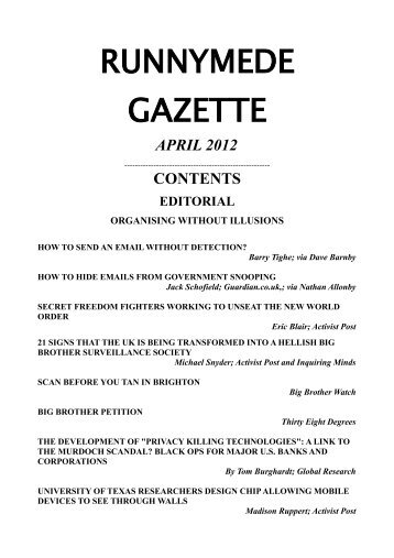 RUNNYMEDE GAZETTE - Inquiring Minds