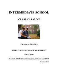Intermediate School Class Catalog 2012-2013 - Klein Independent ...