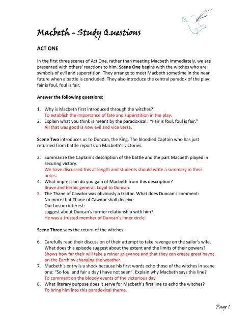 Macbeth Study Guide Pdf