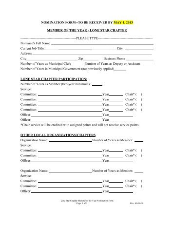 Member Of the Year Nomination information/Form - Next Chapter ...
